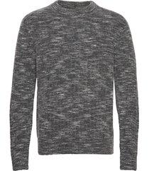 ibbe-fuzzy alpaca stickad tröja m. rund krage grå j. lindeberg