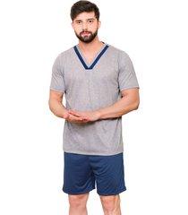 pijama masculino manga curta gola v