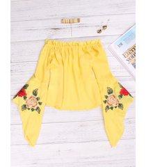 blusas con mangas acampanadas bordadas en el hombro amarillo