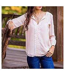 lace accent blouse, 'noble grace in petal pink' (thailand)