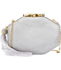 rafe women's sophia octagon clutch - silver