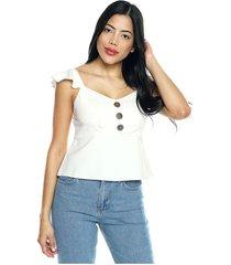 blusa con tiras de boleros blanco