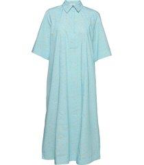 printed cotton poplin dresses shirt dresses blå ganni