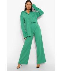 matte satijnen wide leg broek, bright green