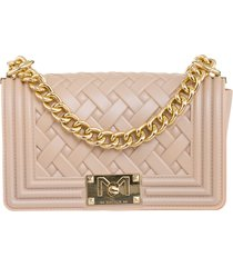 marc ellis flat braid s shoulder bag in rose-pink pvc