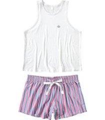 pijama malwee liberta curto com robe feminino