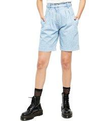 women's free people high waist denim culotte shorts, size 25 - blue
