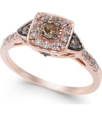 chocolate by petite le vian chocolate and white diamond ring (3/8 ct. t.w.) in 14k rose, yellow or white gold