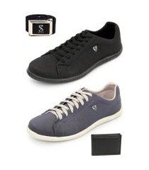 kit tenis sapatenis 2 pares casual com cinto e carteira brindes azul e preto selten