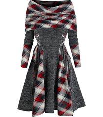 plaid print lace-up convertible dress