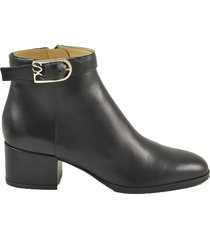 sergio rossi black smooth leather booties w/signature buckle