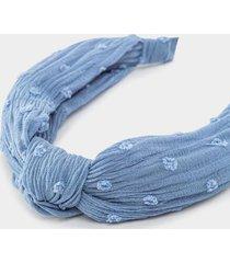briella crinkle swiss dot headband in blue - chambray