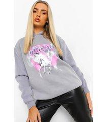 acid wash gebleekte oversized unicorn hoodie, charcoal