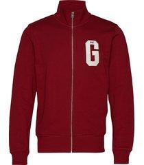 d1. graphic zip-through sweat sweat-shirt trui rood gant