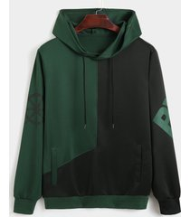 sudadera con capucha de manga larga con costura de reloj de color casual para hombre