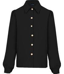 blouse met gouden knopen zwart