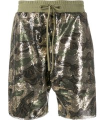 r13 camouflage sequinned shorts - green