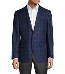 standard-fit windowpane check wool & silk suit jacket