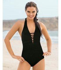 vestido de baño entero de escote muy profundo - swimwear negro leonisa