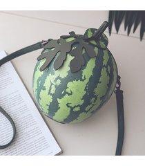 donna mini borsa a tracolla in pelle pu a forma di anguria