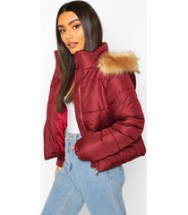 faux fur trim puffer jacket, burgundy