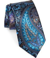 men's ermenegildo zegna paisley silk tie, size one size - blue
