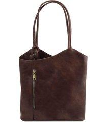 tuscany leather tl141497 patty - borsa donna in pelle convertibile a zaino testa di moro