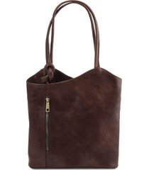 tuscany leather tl141497 patty - borsa donna in pelle convertibile a zaino testa di moro