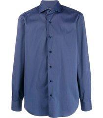 barba spread collar formal shirt - blue