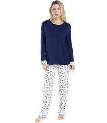 pijama de inverno feminino aberto azul floral - kanui