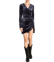 off-white women's crushed velvet stretch wrap dress - dark blue - size 42 (6)