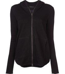 atm anthony thomas melillo hooded zipped cardigan - black