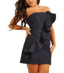 guess ruffled strapless mini dress