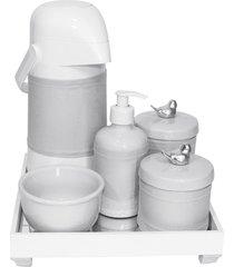 kit higiene espelho completo porcelanas, garrafa e capa passarinho prata quarto bebê unissex