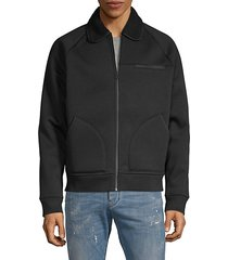 faux shearling-collar bomber jacket