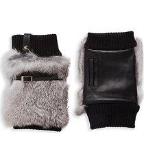 leather, wool & rabbit fur fingerless gloves