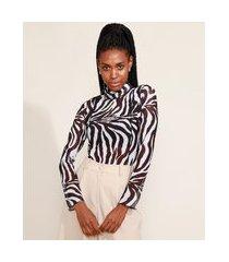blusa de tule feminina mindset estampada animal print zebra com recortes manga longa gola alta preta