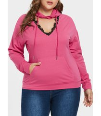 plus size cut out lace detail hoodie