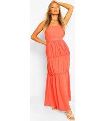 maxi jurk met bandjes en laagjes, oranje