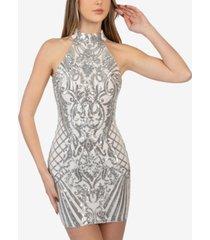 b darlin juniors' sequin cutout-back halter dress