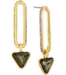 steve madden gold-tone rhinestone link & triangle drop earrings