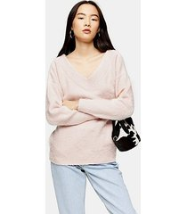 pink knitted brushed bardot sweater - pale pink