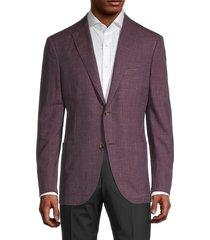 luciano barbera men's burg standard-fit textured sport jacket - burgundy - size 50 (40)