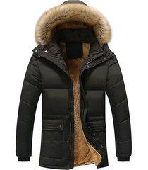 chaqueta hombre calida gruesa capucha rompevientos 390 negro