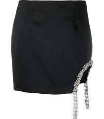 area crystal embellished mini skirt - black