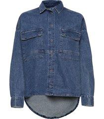 blouses denim långärmad skjorta blå edc by esprit