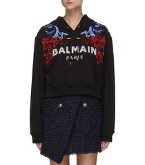 baroque embroidered crop hoodie