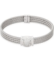 18k white gold, stainless steel & diamond bracelet