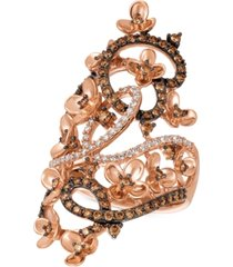 le vian crazy collection diamond fancy scroll floral ring (1-1/6 ct. t.w.) in 14k rose gold