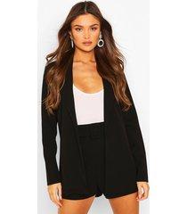 blazer & self fabric belt short suit set, black
